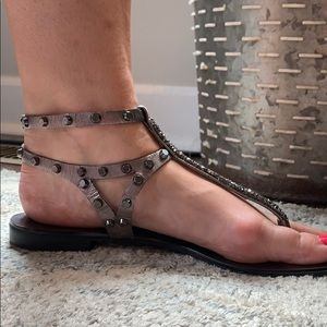 Sparkling Gray Gladiator Sandals